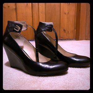 Black Nine West Wedge heels with ankle strap